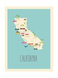 Californie, Carte graphique bleue Reproduction d'art par Rebecca Lane