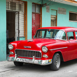 Cuba Fuerte Collection SQ - Classic American Red Car in Havana