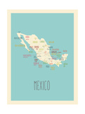 Blue Mexico Map