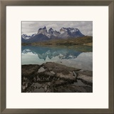 Reflection of Mountain Peak in a Lake  Torres Del Paine  Lake Pehoe