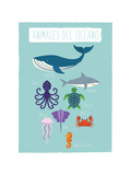 Image animaux marins en espagnol Reproduction d'art par Rebecca Lane
