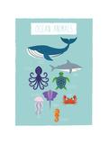 Image animaux marins Reproduction d'art par Rebecca Lane