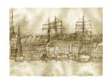 Boston Harbor c 1877 Sepia Tone