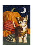 Calico Kitten & Pumpkins