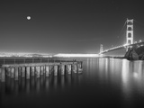 Golden Gate Pier and Stars BW