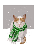 White Cat  Green Scarf