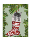 Grey Kitten in Christmas Stocking