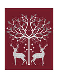 Christmas Des - Deer and Heart Tree  Grey on Red