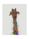Rainbow Splash Giraffe 3 Reproduction d'art par Fab Funky