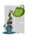 Teapot  Cup and Flowers  Green and Blue