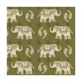 Woodcut Elephant Patterns