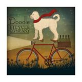 White Doodle on Bike Summer