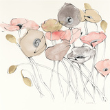 Black Line Poppies I Watercolor Neutral Reproduction d'art par Shirley Novak