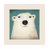 Polar Bear with Border Reproduction d'art par Ryan Fowler
