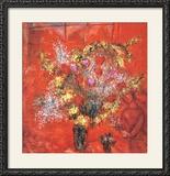 Fleurs sur fond rouge, 1970 Reproduction encadrée par Marc Chagall
