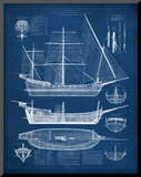 Antique Ship Blueprint I