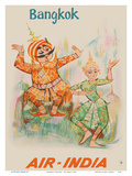 Bangkok  Thailand - Air India - Maharaja with Thai Classical Khon Dancer