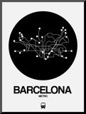 Barcelona Black Subway Map