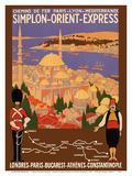 Simplon Orient-Express - London to Constantinople - Paris-Lyon-MterranRailway (PLM) Reproduction d'art par Roger Broders