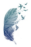 Papillon artistique bleu Reproduction d'art par Rachel Caldwell