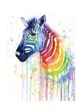 Rainbow Zebra Reproduction d'art par Olga Shvartsur