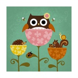 Owl  Squirrel and Hedgehog in Flowers