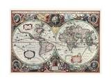 Nova Totius Terrarum Orbis Tabula Reproduction d'art par Hendrik Hondius