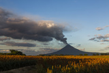 A Volcano Erupts At Sunset In Nicaragua