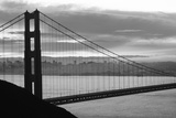 Silhouette of a suspension bridge at dusk  Golden Gate Bridge  San Francisco  California  USA