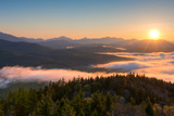 Sunrise over the Adirondack High Peaks from Goodnow Mountain  Adirondack Park  New York State  USA