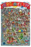 Brooklyn Map Reproduction d'art par Aaron Meshon