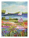 Two Sailboats and Cottage I Reproduction d'art par Karen Fields