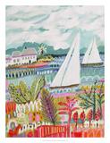 Two Sailboats and Cottage II Reproduction d'art par Karen Fields