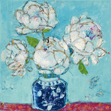 Vase of Peonies Aqua Reproduction d'art par Kellie Day