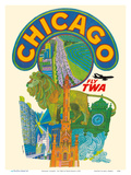 Chicago  Illinois - Fly TWA (Trans World Airlines)