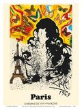 Paris, France - Eiffel Tower - Chemins De Fer Francais (French National Railroads) Reproduction d'art par Salvador Dali