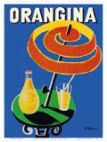 Orangina Sparkling Soda - Umbrella Ad Reproduction d'art par Bernard Villemot