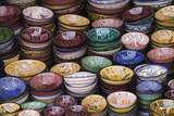 Morocco  Marrakech Colorfully painted ceramic bowls for sale in a souk  a shop
