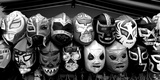 Colorful mask at market a stall  Olvera Street  Downtown Los Angeles  Los Angeles  California  USA