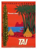 Nouvelle Caledonie (New Caledonia) - Native Kanak People Grand Huts - TAI Airline Reproduction d'art par Bernard Villemot