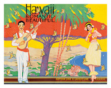 Hawaii Romantic Beautiful - Matson Lines - Art Deco Cover for Hawaiian Travel Brochure