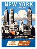 New York  USA - Skyline of Manhattan - Aer Lingus (Irish International Airlines)