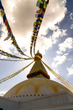 Stupa (Buddhist Temple) with colorful prayer flags in Kathmandu  Nepal