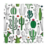 Vector Cactus Seamless Pattern