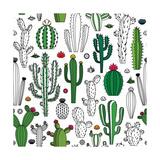 Vector Cactus Seamless Pattern Reproduction d'art par Vlad Klok