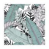 Leaf Pattern with Tropical Plants Reproduction d'art par Mirifada