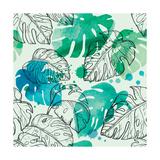 Tropical Watercolor Leaf Pattern Reproduction d'art par Mirifada