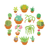 Green Cactuses Icons Set. Cartoon Illustration of 16 Green Cactuses Vector Icons for Web Reproduction d'art par Ylivdesign