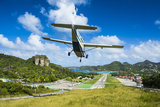 Small airplane landing at the airport of St Barth (Saint Barthelemy)  Lesser Antilles  West Indies