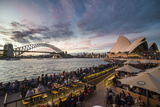 Sydney Harbour with the Harbour Bridge and Opera House after sunset  Sydney  New South Wales  Austr